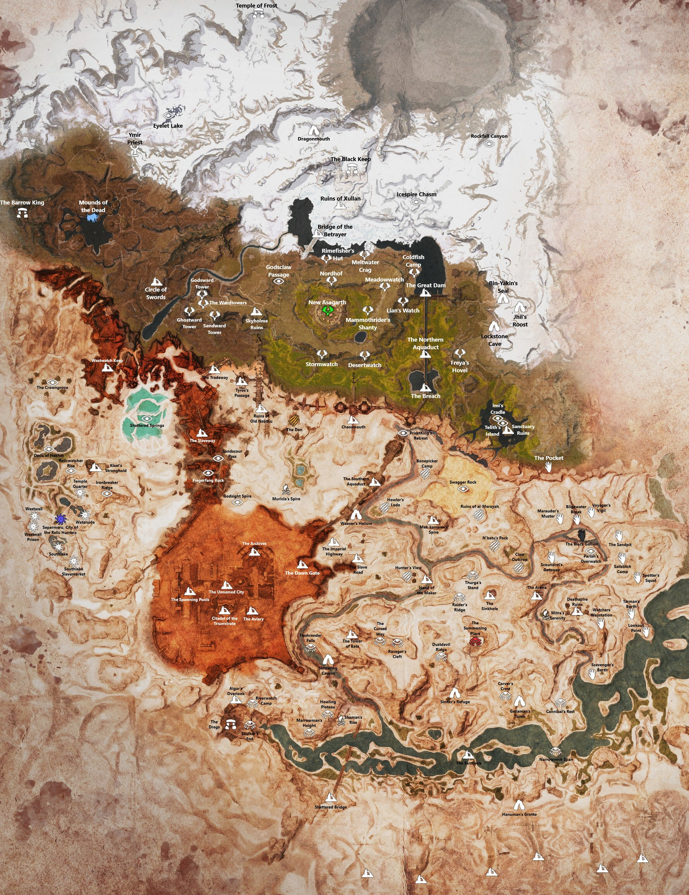 Conan Exiles: The Frozen North   Full Map with Discovery Locations