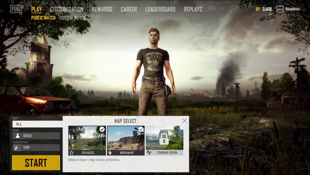 PUBG Map Selection UI First Version