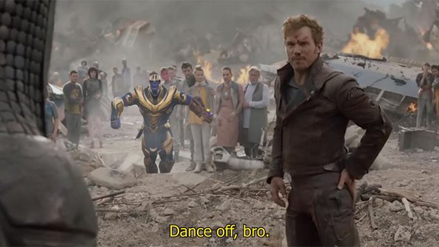 Starlord dance scene from Guardians of the Galaxy ft. Fortnite's dancing Thanos