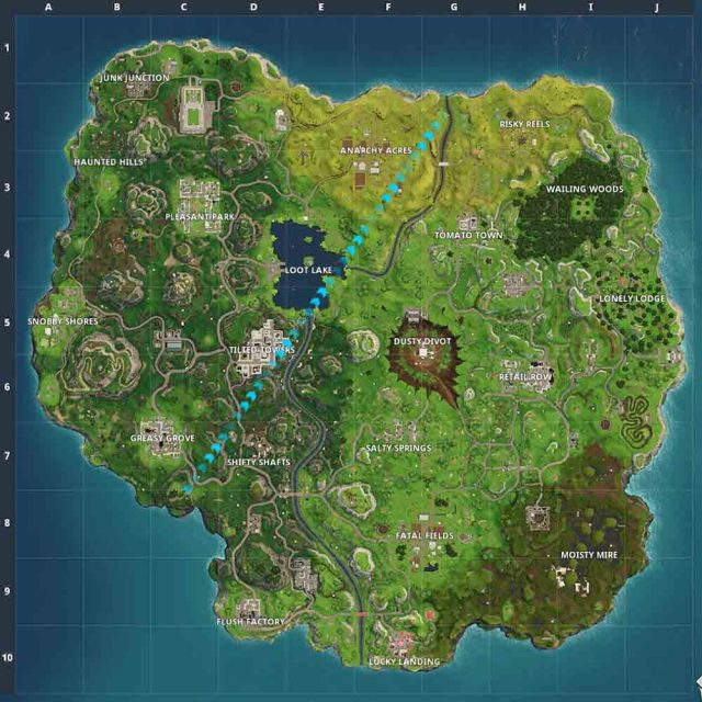 Fortnite Visit the Center of Named Locations