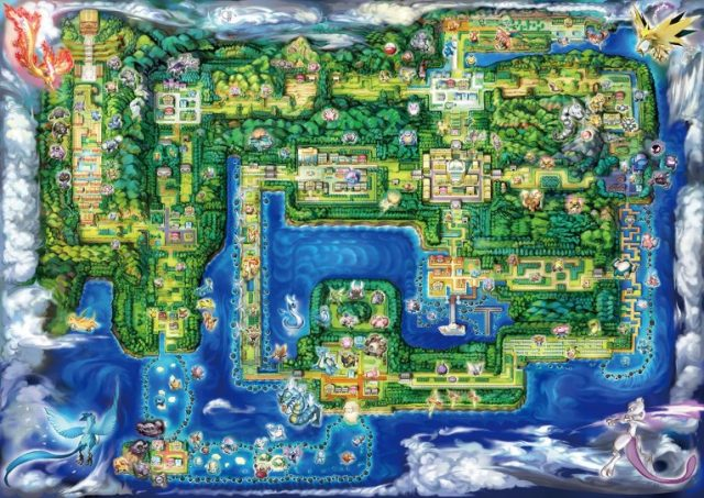 Pokemon Let's Go Pikachu and Let's Go Eevee Kanto World Map