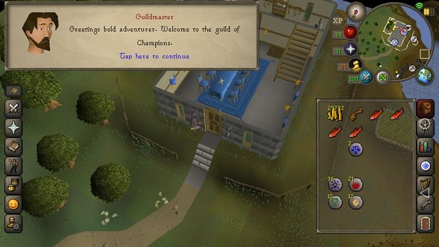 RuneScape Mobile has a smart UI built for touch screens.