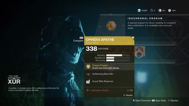 xur today location