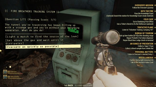 fallout 76 knowledge exam questions