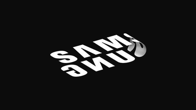 The Samsung foldable phone was teased with this play on the Samsung logo.