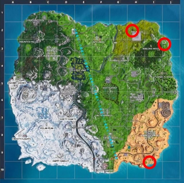 Fortnite Fireworks Locations Map