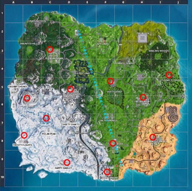 Fortnite Holiday Trees Locations Map