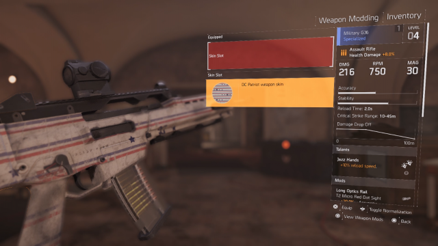 The Division 2 Equip Skin Screen