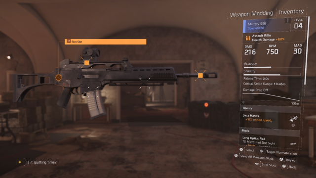 The Division 2 Weapon Mod Screen