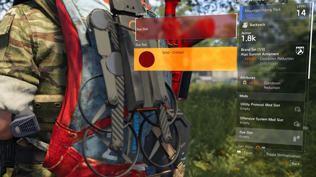 The Division 2 Gear Dyes