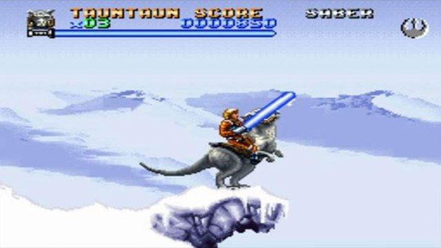 SNES Star Wars games like Super Empire Strikes Back did their best to keep the iconic look of lightsabers.