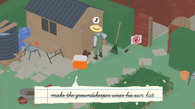 untitled goose game make the groundskeeper wear his sun hat