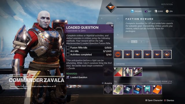 Destiny 2 how to get loaded question