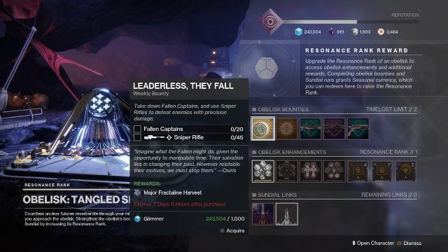 destiny 2 obelisk bounties timelost weapon frames