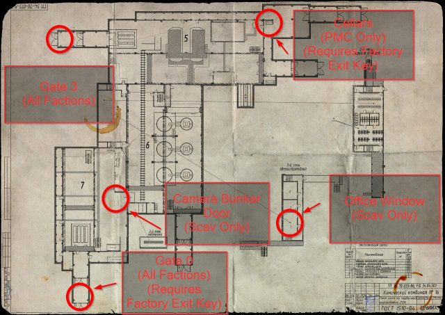 Escape From Tarkov Factory Extraction Points Map