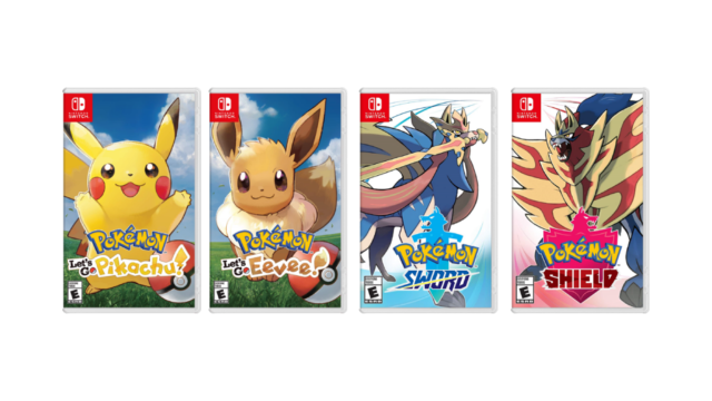 Pokemon Let's Go Pikachu, Let's Go Eevee, Sword, and Shield Pokemon Home
