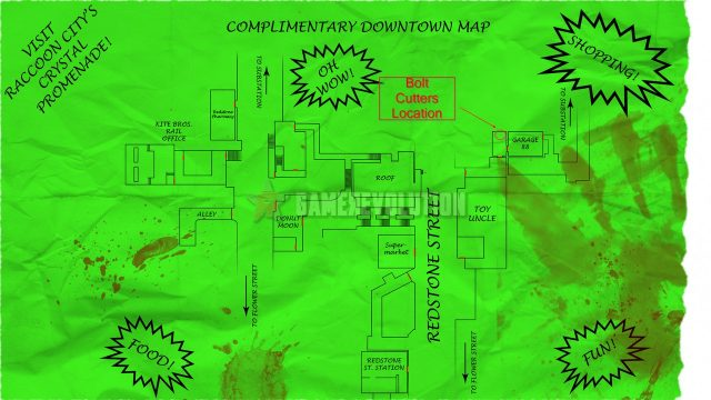 Resident Evil 3 Remake Bolt Cutters Location Map