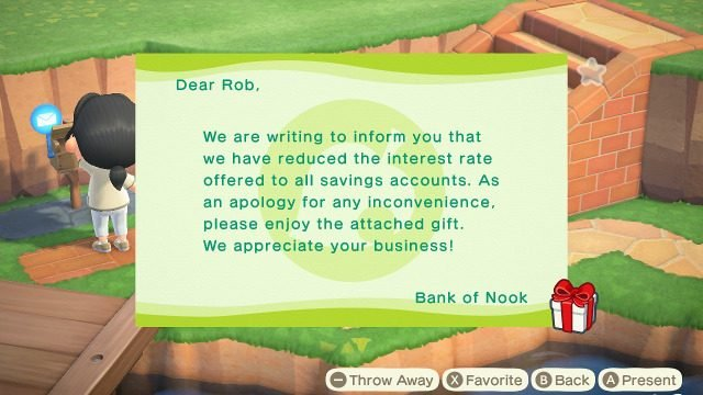Animal Crossing interest rate change notice