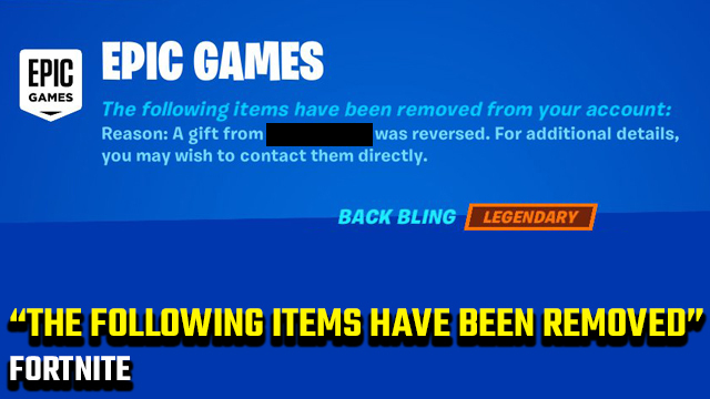 Fortnite The following items have been removed from your account error