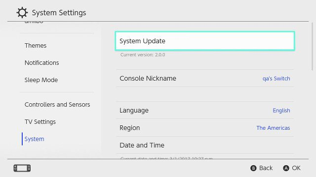 Nintendo Switch update system settings