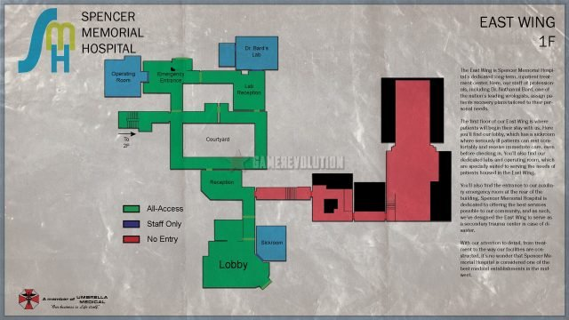RE3 Remake Hospital 1F Map