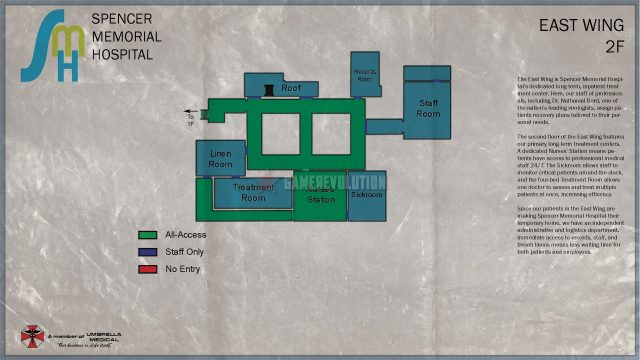 RE3 Remake Hospital 2F Map