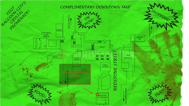 Resident Evil 3 remake subway clock puzzle location map