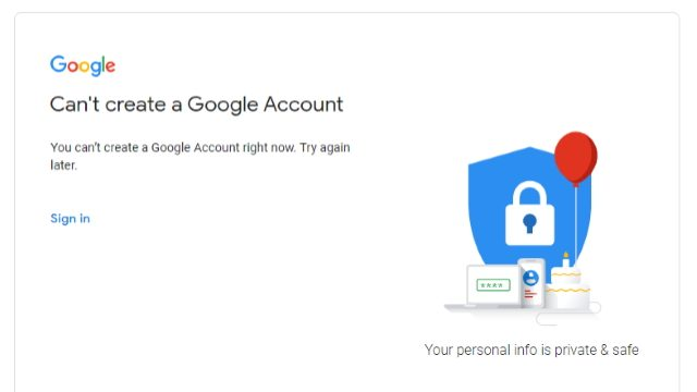 can't create a Google Account