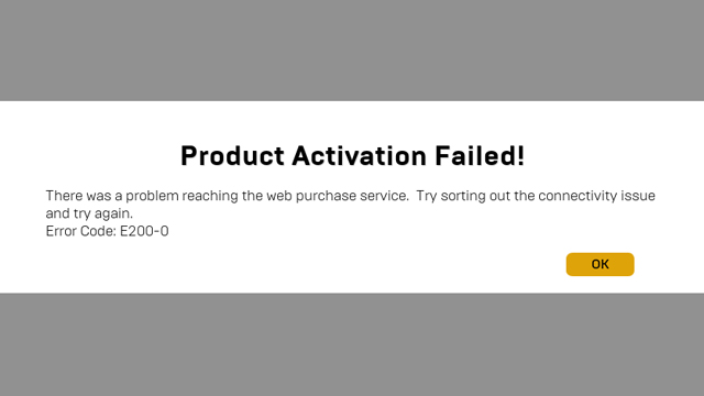 epic games store product activation failed