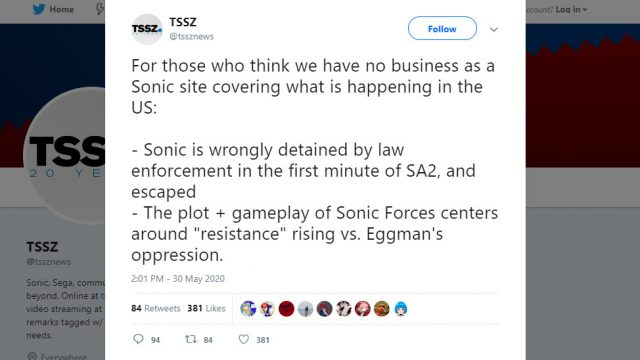 Sonic the Hedgehog fansite TSSZ News deleted tweet