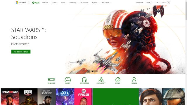 Star Wars Squadrons Microsoft Store banner