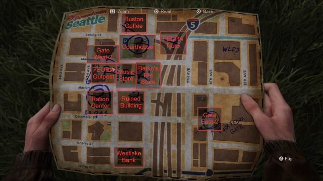 The Last of Us 2 Sightseer Trophy Downtown Map Labeled