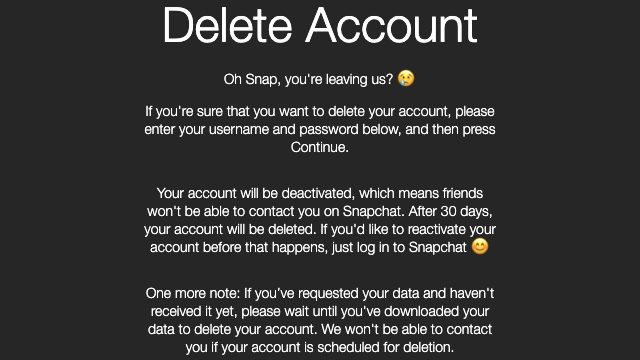 How to temporarily disable your Snapchat account