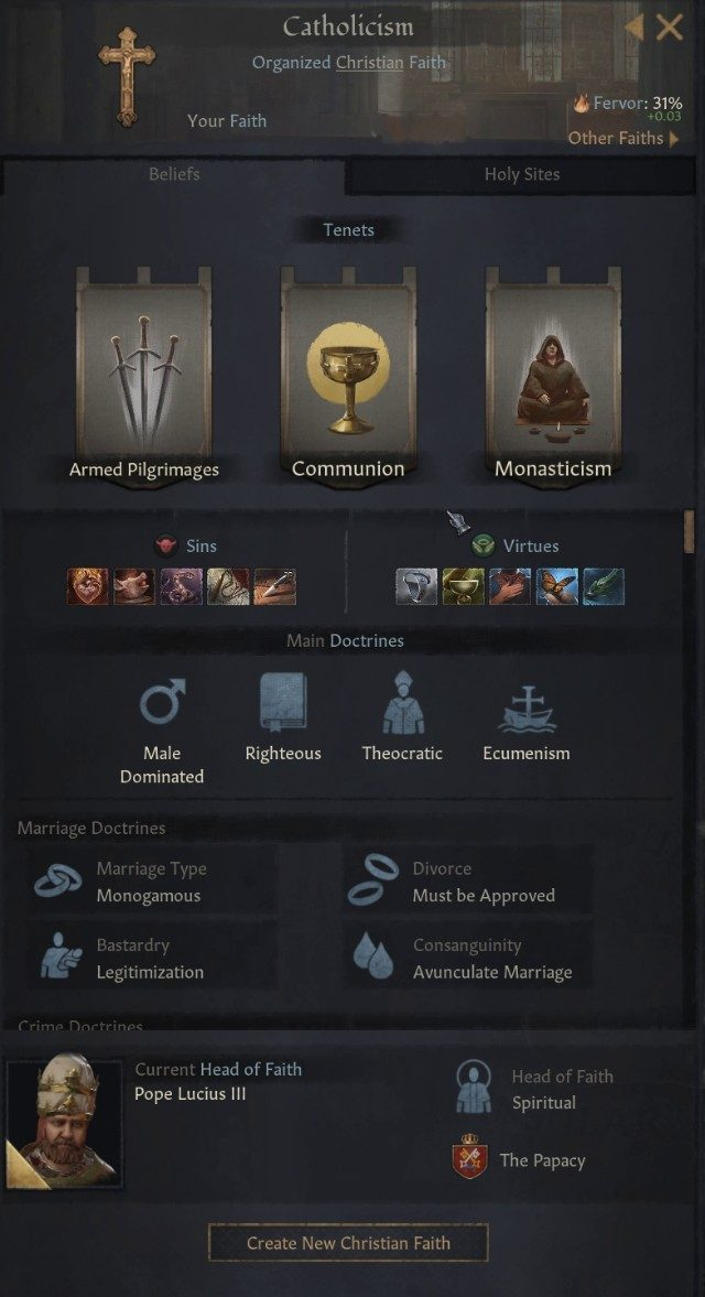 Crusader Kings 3 Religion Details Screen