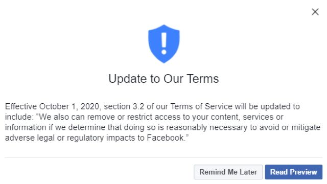 Facebook terms of service update 3.2
