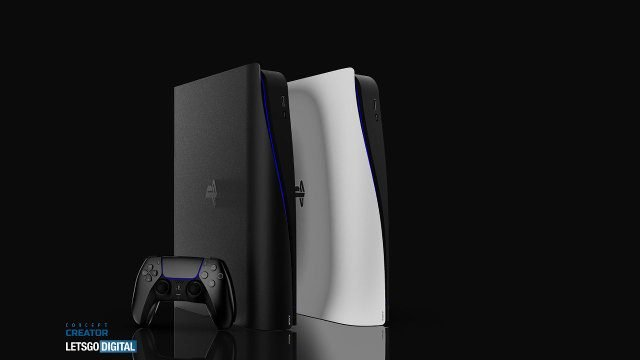 PS5 slim LetsGoDigital concept black and white