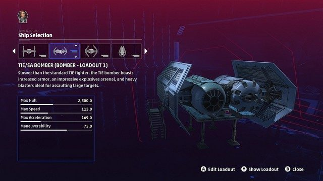 Star Wars Squadrons Bomber Loadouts TIE Bomber