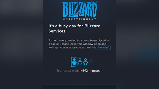 It's a busy day for Blizzard services login queue error