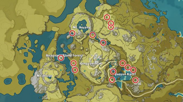 Genshin Impact Jueyun Chili locations map
