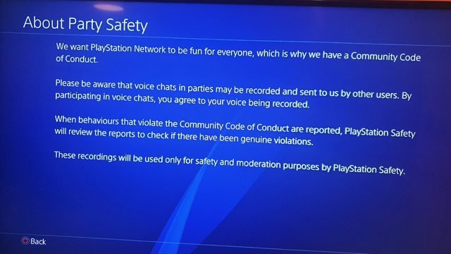 ps4 about party safety