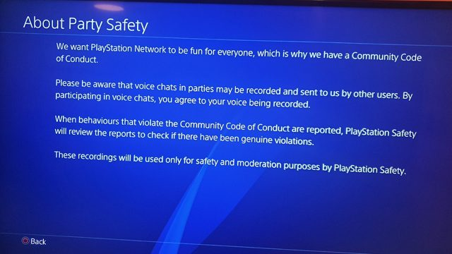 Why is PlayStation recording parties?