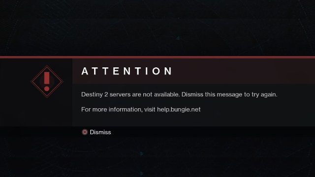 Destiny 2 Attention Servers are not available fix message