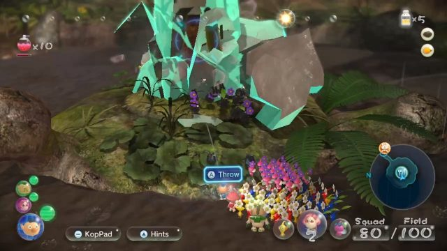 Pikmin 3 Deluxe review Nintendo Switch Rock Pikmin smashing