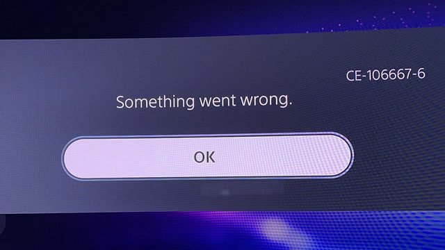PS5 CE-106667-6 error code fix - Something went wrong
