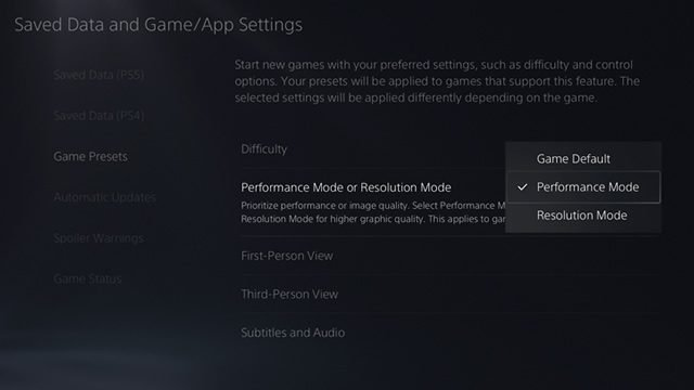 PS5 120hz - How to enable performance mode