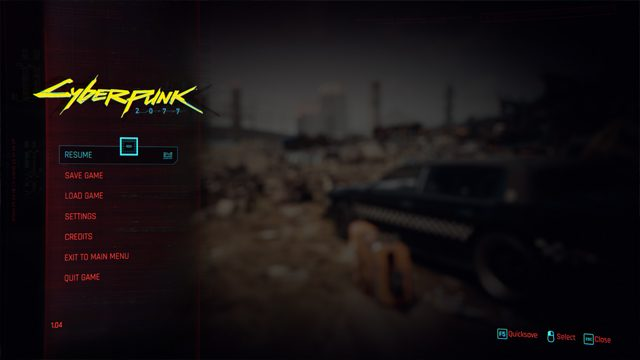 Cyberpunk 2077 how to Quicksave and Quickload