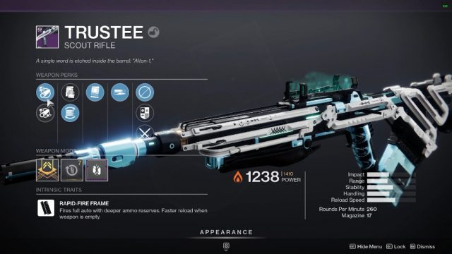 Destiny 2 Trustee rifle stats and perks