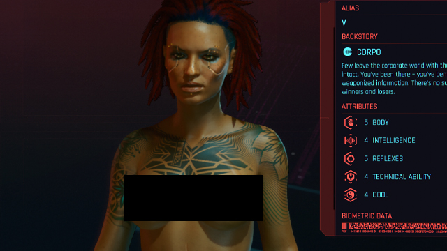 do cyberpunk 2077 genitals change anything