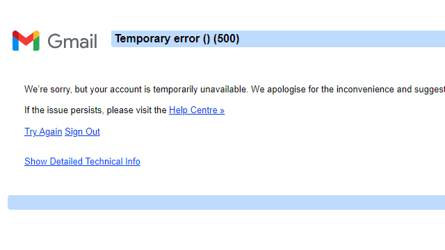 gmail your account is temporarily unavailable error 500 fix