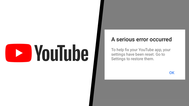 YouTube app a serious error occurred